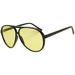 Classic Black Plastic Aviator Sunglasses 60mm 65mm Aviators with Color Lenses (Black (Plastic)   Yellow, 65)