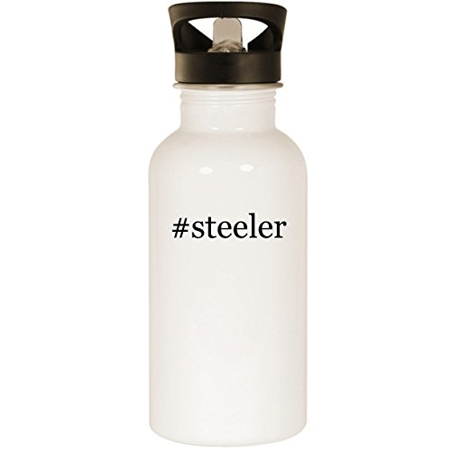 #steeler - Stainless Steel Hashtag 20oz Road Ready Water Bottle, White