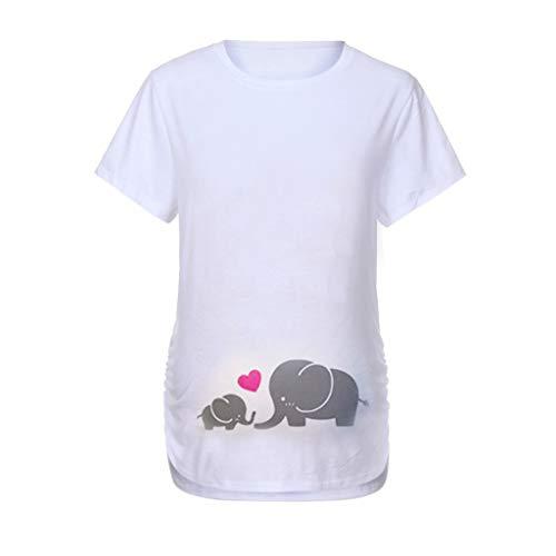31e5663da17c7 Sttech1 Ladies Pregnant Women Short Sleeve Fun Pattern Cartoon Print  Maternity Shirt