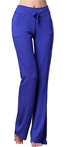 Women's Long Modal Comfy Drawstring Trousers Loose Straight-Leg for Yoga