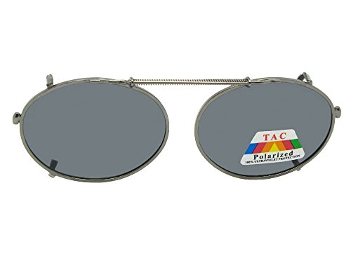 Oval Polarized Clip-on Sunglasses (Pewter Frame-Gray Lenses, 49mm Width x 35mm - On Oval Sunglasses Clip