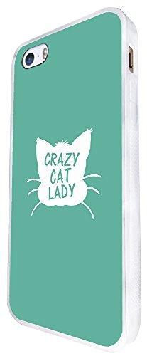 706 - Cute Cat Face Head Crazy Cat Lady Design iphone SE - 2016 Coque Fashion Trend Case Coque Protection Cover plastique et métal - Blanc