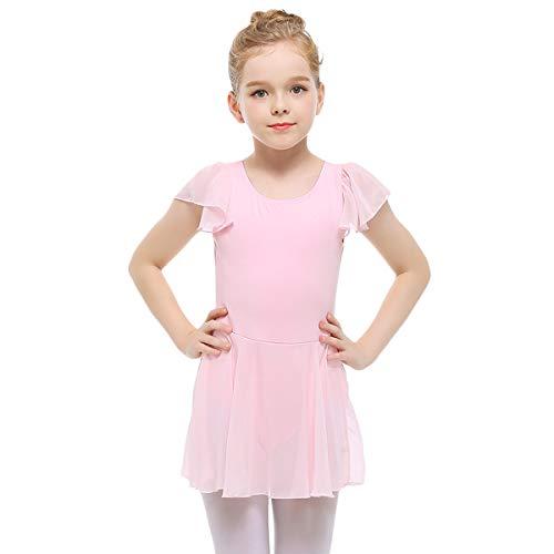 - STELLE Girls' Ruffle Short Sleeve Tutu Skirted Ballet Leotard for Dance, Ballet(100cm, Ballet Pink)