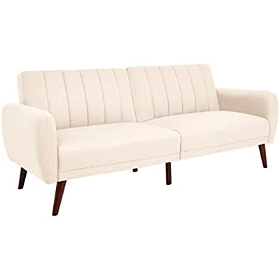 Sunrise Coast Torino Modern Linen-Upholstery Futon with Wooden Legs, Pale Pink - Futon couch transitions easily from a couch to a bed (back cushions fold down); offers contemporary style and space-saving versatility Comfortable polyester and foam filling; cushioned seat and back with ribbed tufted detailing; curved armrests Premium linen upholstery in a pale-pink hue; wipes clean easily - sofas-couches, living-room-furniture, living-room - 31JwxYaXCDL. SS400  -