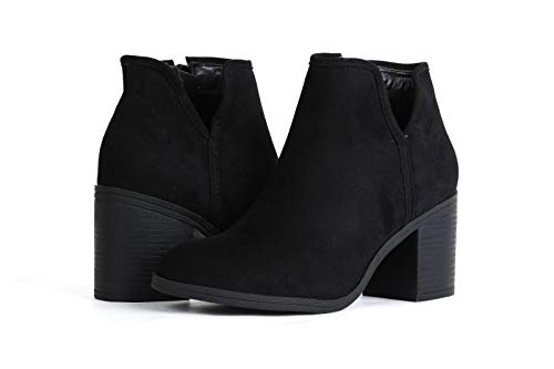 PiePieBuy Womens Side Zipper Ankle Boots Faux Suede Cut Out Chunky Heel Casual Western Booties Black