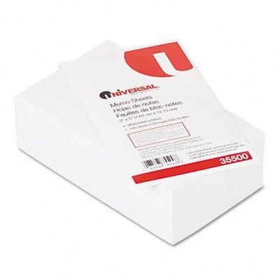 Universal 35500 Loose Memo Sheets, 3 x5, White, 500 Sheets/Pack