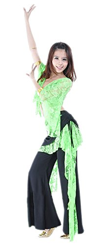 AvaCostume Belly Dance Butterfly Sleeve Lace Top and Bell Bottom Pants, Yellowish Green, Set Of (Bell Sleeves Lace Costume)