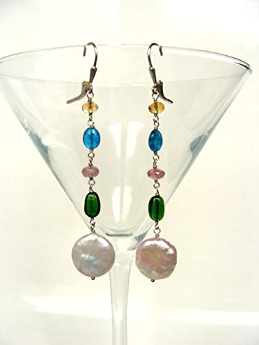 Long gemstone earrings, genuine citrine neon blue apatite pink tourmaline chrome diopside sterling silver, elegant handmade jewelry, Let Loose Jewelry