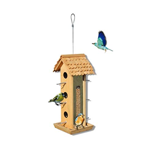 (C-Xka Seed Bird Feeder Hanger Bird Feeding Station Bird Table Seed Feeder Wall Mounted Garden Ornament)