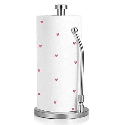 MuBoc Paper Towel Holder, Kitchen Tissue Holder Paper Towel Dispenser Vertical Heavy Duty Stainless Steel Countertop Napkin Holders Roll Holder Up Makeup Remover Standing Tabletop