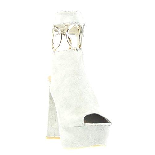Angkorly - Scarpe da Moda Stivaletti - Scarponcini sandali zeppe aperto sexy donna fibbia tanga d'oro Tacco a blocco tacco alto 13.5 CM - Grigio