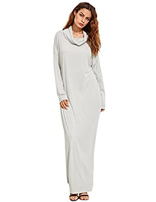 Verdusa Women's Casual Long Sleeve Cowl Neck Loose Pocket Shift Long Maxi Dress