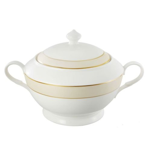 (Lorenzo Import La Luna Collection Bone China Souptureen with Lid, Valentina Pattern by Lorren Home Trends, Gold)