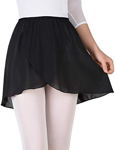 zdhoor Kids Girls Ballet Wrap Skirts Chiffon Dance Pull-On Mini Active Skirt Classic Basic Yoga Dancewear