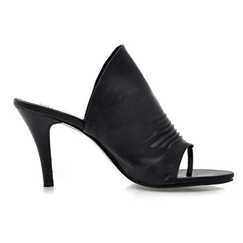 été Pied Frestepvie Talon Femme Chaussons Mode Noir Mule Cuir Chic en Sabots Chaussure Plates 77qgzwrZ