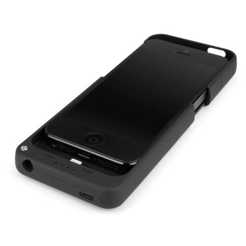 iPhone 5 Battery, BoxWave® [RocketPack Case] Emergency Power Battery Cover for Apple iPhone 5, 5s - Jet Black