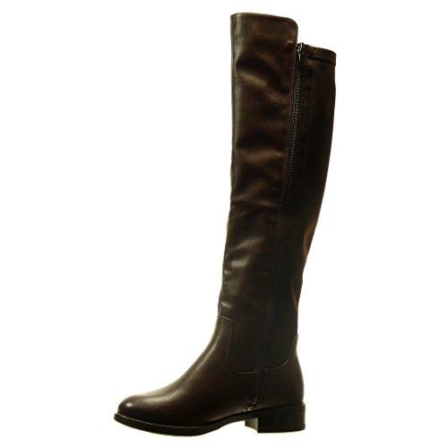 Flessibile Cm Tacco 5 Scarponi Scarpe Moda Stivali 2 Marrone Donna Angkorly A Blocco TqIPfwx