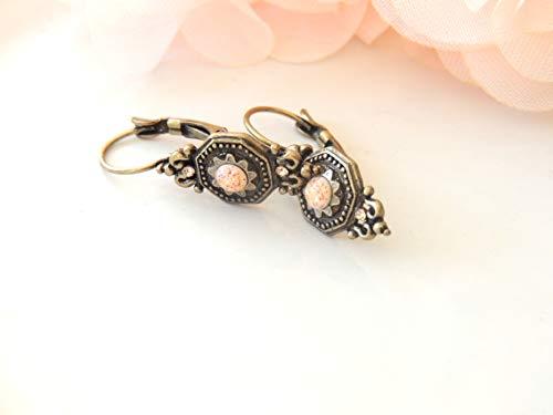 Ancient Romantic Pink Earrings Hanging Earrings, Old Hanging Earrings special occasion, Long Hanging Earrings, Designer Earrings