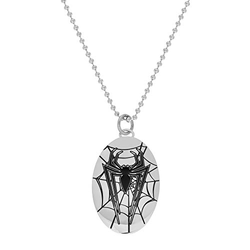 Marvel Comics Spiderman Jewelry, Stainless Steel Oval Pendant Necklace, 22
