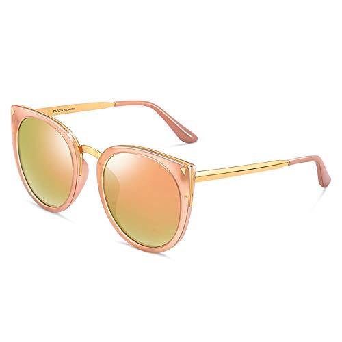 Round Polarized Sunglasses for Women, PARZIN Novelty Cat Eye Eyewear with Glasses Case