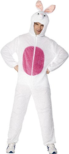 [Smiffy's Adult Unisex Bunny Costume, Jumpsuit with Hood, Party Animals, Serious Fun, Size M, 31682] (Animal Suits For Adults)