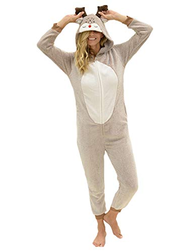 Yelete Plush Moose Animal Adult Jumpsuit Pajama Costume, S/M