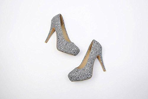 Carolbar Women's Bling Bling Fashion High Heel Hidden Platform Wedding Shoes Grey qXG9N