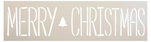 Merry Christmas with Tree Word Stencil by StudioR12 | Wood Signs | Word Art Reusable | Family Dining Room | Painting Chalk Mixed Multi-Media | DIY Home - Choose Size (21
