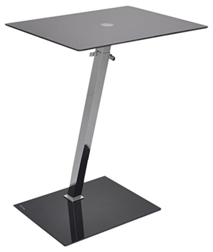 ASPECT Alpha Glass Adjustable Side/End/Laptop/Coffee Table, 48 X 35 X 58 88  Cm, Black: Amazon.co.uk: Kitchen U0026 Home