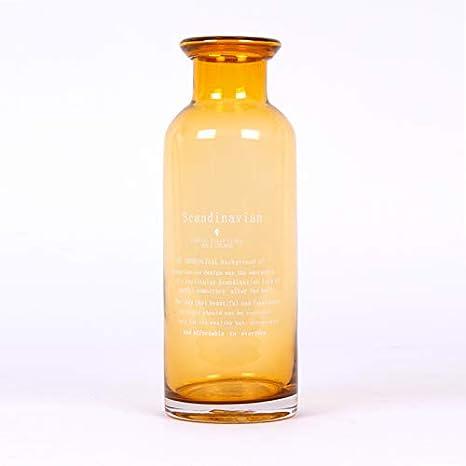 Homevibes Botella Rustica de Vidrio Decorativo Color Amarillo con Frase, Jarron de Jardin, Uso Exterior