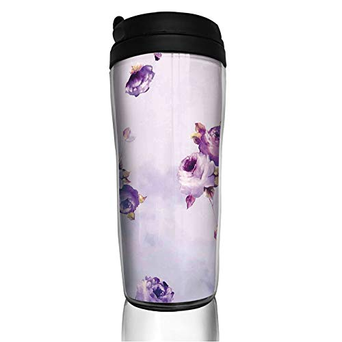 (Stainless Steel Insulated Coffee Travel Mug,Mauve Roses in Purple Color Dreamy Clouds,Spill Proof Flip Lid Insulated Coffee cup Keeps Hot or Cold 11.8oz(350 ml) Customizable printing)