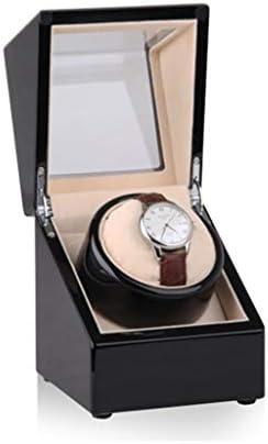LSRRYD ぜいた 自動巻き腕時計ワインダー、ピアノ塗装 静かなモーター、5回転モード、1 + 0 木製収納ケースオーガナイザーギフト ックス ウォッチケース コレクション (Color : Black)