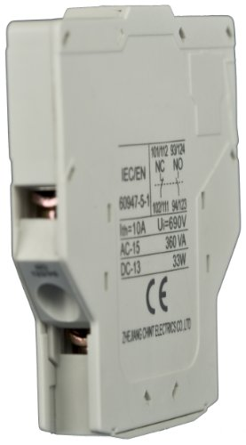 NOARK Electric AXFC11 Auxiliary Contacts for Ex9CK DP Contactor, Side Mounted, Open Coil, 1 NO/1 NC