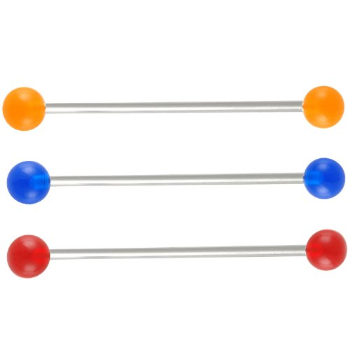 3 pcs industriel barbell oreilles bijouterie piercing acier 14g 1,6mm 45mm 6mm boules FRGS