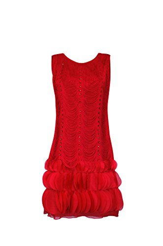 Adult Women's Fringed Flapper Dress with Crystals (Large, Red) (Great Gatsby Daisy Dress)