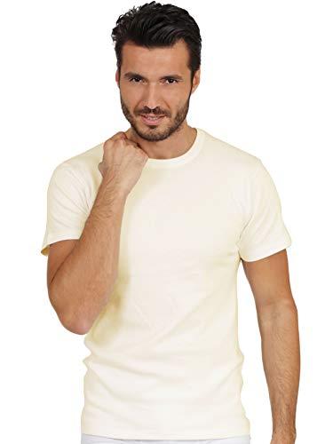 - EGI Luxury 100% Merino Wool Men's Short Sleeve T-Shirt. Proudly Made in Italy. (4 (Medium), Bianco)