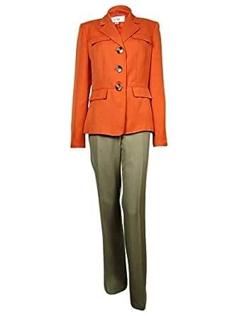 Le Suit Women's Cote d'Azur Faux Flap Pocket Pant (8P, Tangerine/Khaki)