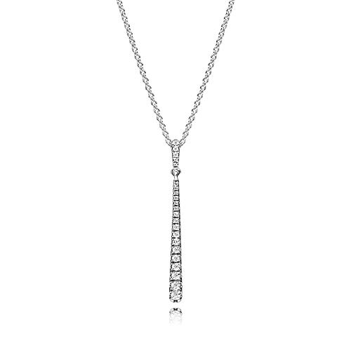PANDORA Shooting Star Necklace, Clear Cz, Pendant In Sterling Silver And 60 Cm Chain With Sliding...