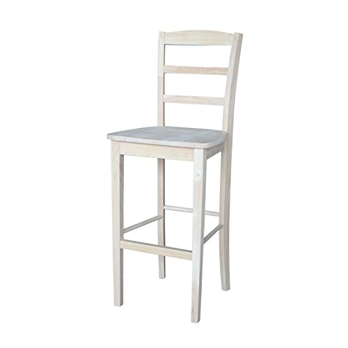 International Concepts S-403 30-Inch Madrid Bar Stool, Unfinished - Swivel Unfinished Wood Bar Stool