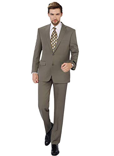 P&L Men's 2-Piece Classic Fit Single Breasted 2 Buttons Blazer & Trousers Suit Tan