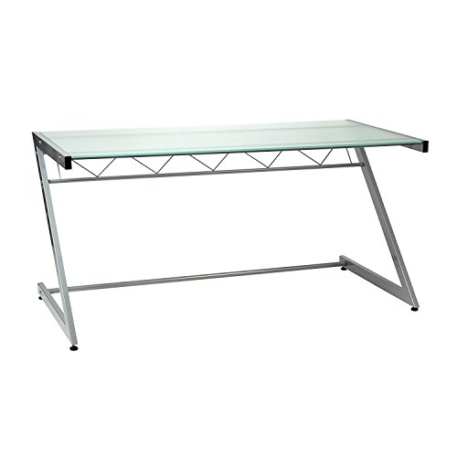 Euro Style Z Deluxe Frosted Glass Top Large Desk With Shelf, Aluminum Steel Frame