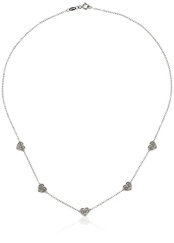 Sterling Silver Diamond Five Flower Necklace (1/10cttw, I-J Color, I2-I3 Clarity), 16