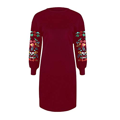 Landfox Maxi Dress, Autumn Winter Dress,Women Casual Floral Embroidery Sweatshirt -