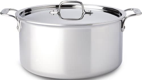 All-Clad 4508 Stainless Steel Tri-Ply Bonded Dishwasher Safe Stockpot with Lid Cookware, Silver