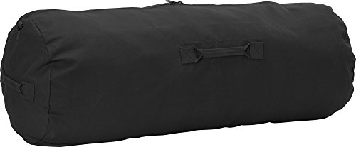 (Black Giant Side Zipper Canvas Heavy Duty Military Duffle Bag 50