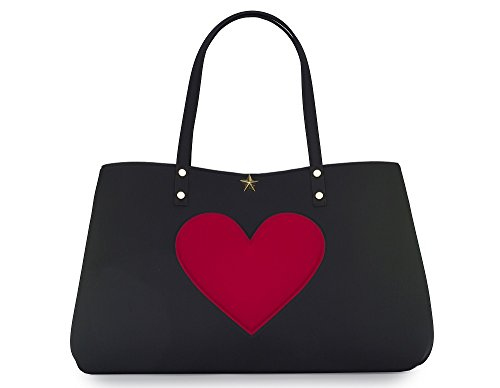 Shopping bag in neoprene LA FILLE DES FLEURS BORSA marion love BLACK CUORE 35X35X14