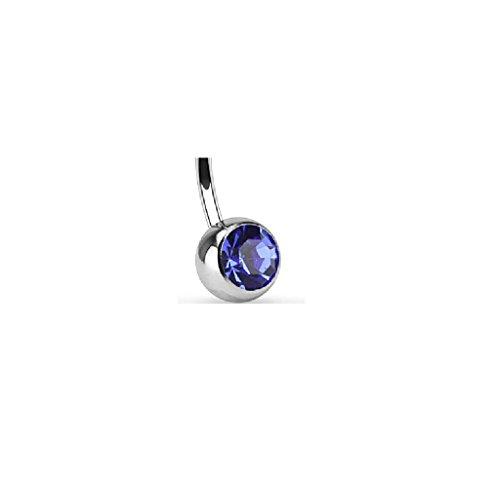 Piercing Pour Nombril En Acier Chirurgical Classique épaisseur de tige/barre : 1,6mm Longueur de tige : 11mm boule : 5mm x 8mm Zircon, bleu