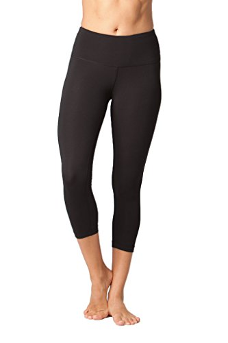 Yogalicious High Waist Ultra Soft Lightweight Capris -  High Rise Yoga Pants - Black - Large