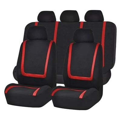ZSQSC Universal Car Seat Cover Polyester Fabric Automobile Seat Covers Car Seat Cover Vehicle Seat Protector Interior Accessories ZSQSC (Color : 9pcs Set Red) by ZSQSeatCovers