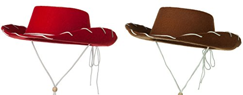 Child Cowboy Cowgirl Red Brown Hat Wild West Western Rodeo Costume